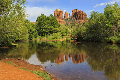 Red Rock Reflection Print by Mike Lang