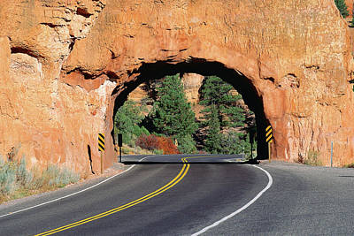Curving Road Photograph - Red Rock Tunnel On Highway by Panoramic Images