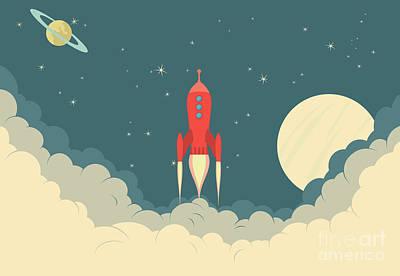 Red Rocket Art Print by Fenton Wylam