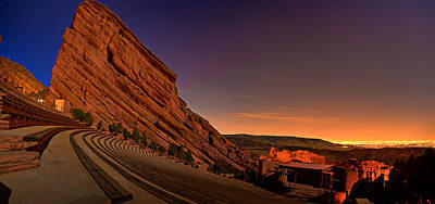 Abstract Airplane Art - Red Rocks Amphitheatre at Night by James O Thompson