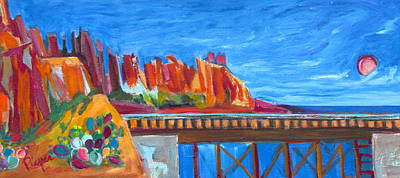 Painting - Red Rocks And Railroad Trestle by Betty Pieper