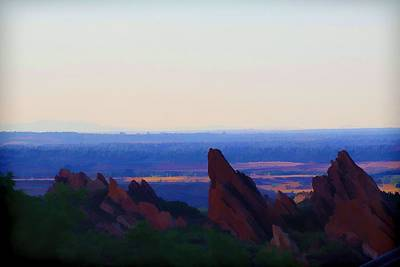 Digital Art - Red Rocks At Sunset by Audreen Gieger