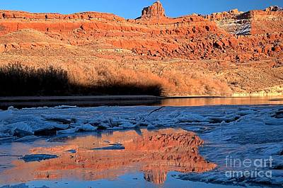 Red Rocks In Cracked Ice Art Print by Adam Jewell