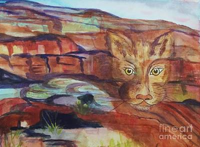 Painting - Red Rocks Mountain Lion - Surreal Abstract by Ellen Levinson
