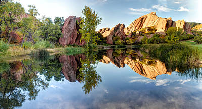 Photograph - Red Rocks Reflection by OLena Art Brand