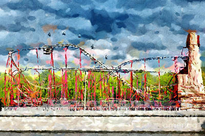Red Roller Coaster Painting Art Print by Magomed Magomedagaev