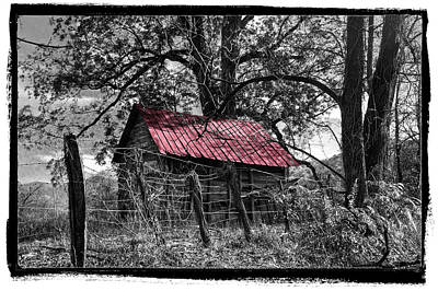 Autumn Art Photograph - Red Roof by Debra and Dave Vanderlaan