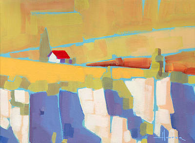 Painting - Red Roof Landscape by Larry Hunter