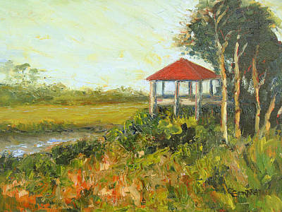 South Carolina Low Country Marsh Painting - Red Roof On Pi Marsh by Cecelia Campbell