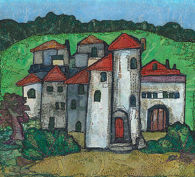 Red Roof Mixed Media - Red Roofed Village by Barbara Nye