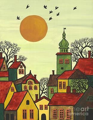 Red Roofs Art Print by Margaryta Yermolayeva