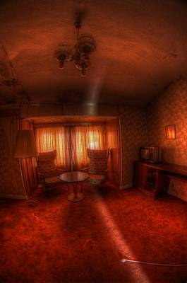 Creepy Digital Art - Red Room by Nathan Wright