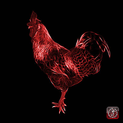 Digital Art - Red Rooster 3186 F by James Ahn