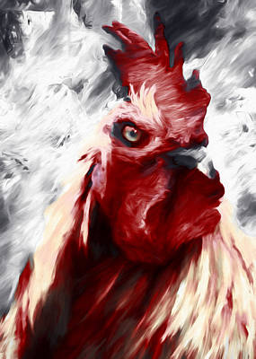 Home Decorating Mixed Media - Red Rooster Rampage by Georgiana Romanovna