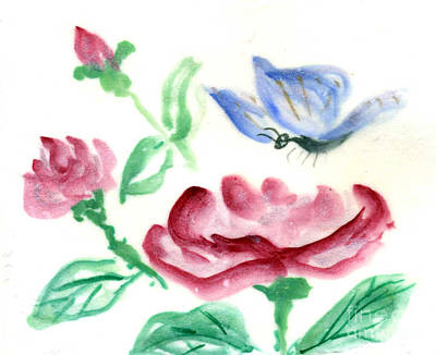 Fukinsei Painting - Red Rose And  Blue Butterfly by Ellen Miffitt