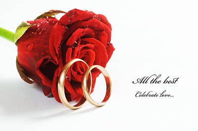 Ring Photograph - Red Rose And Wedding Ring by Michal Bednarek