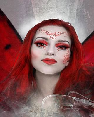 Digital Art - Red Rose Fairy by Diana Shively