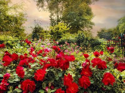Red Leaf Digital Art - Red Rose Garden by Jessica Jenney