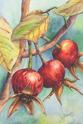 Outdoor Still Life Painting - Red Rose Hips by Oty Kocsis