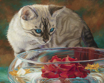Kitten Painting - Red Rose by Lucie Bilodeau