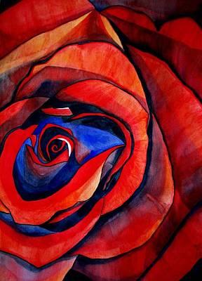 Red Rose Macro Art Print by Sacha Grossel