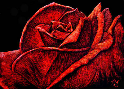 Mixed Media - Red Rose by Monique Morin Matson