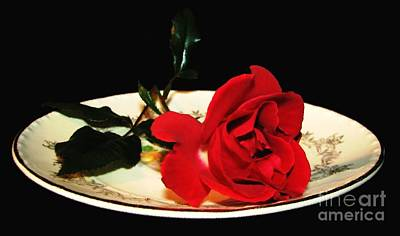 Photograph - Red Rose On Antique Saucer With Oil Painting Effect by Rose Santuci-Sofranko