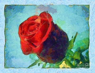 Red Rose On Blue Art Print by Dana Hermanova