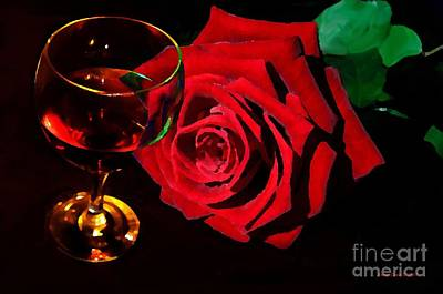 Photograph - Red Rose Red Wine Romantic Evening by Annie Zeno