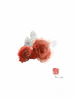 Red Rose Roses Flower Aromatherapy Scet Parfums Orange Grey Watercolor Painting Art Print by Johana Szmerdt