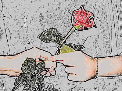 Red Rose Sketch By Jan Marvin Studios Art Print