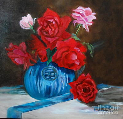 Art Print featuring the painting Red Roses And Blue Vase by Jenny Lee