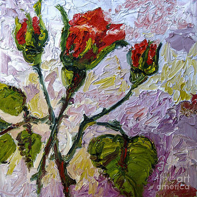 Painting - Red Roses And Rose Buds Impressionist Oil Painting by Ginette Callaway