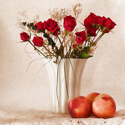 Digital Art - Red Roses And Three Peaches by Grace Dillon