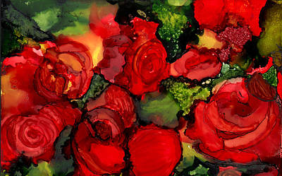 Alcohol Ink Wall Art - Painting - Red Roses by Elaine Hodges