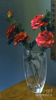 Painting - Red Roses In A Vase by Liane Wright