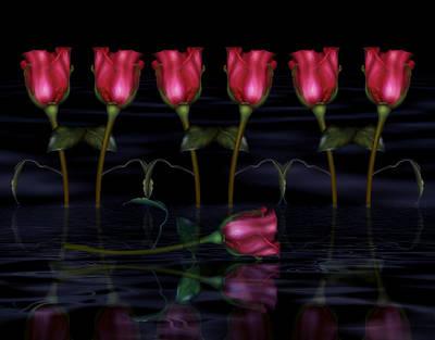 Sensual Digital Art - Red Roses In The Moonlight  by Georgiana Romanovna