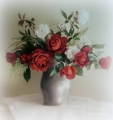 Photograph - Red Roses In Vase by Diana Besser