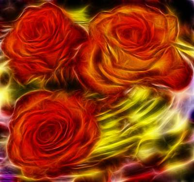 Red Roses In Water - Fractal  Art Print by Lilia D