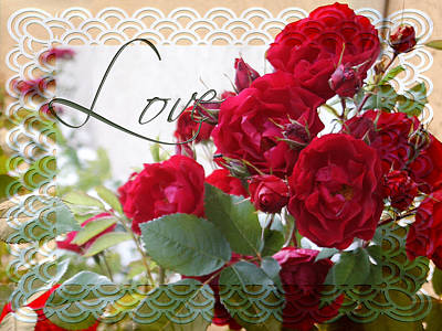 Art Print featuring the photograph Red Roses Love And Lace by Sandra Foster