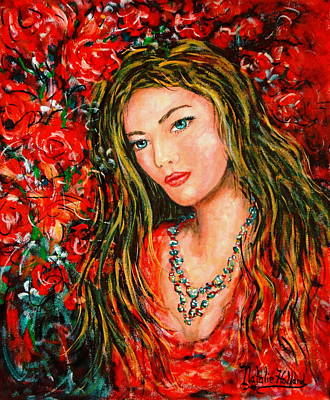 Long Necklace Painting - Red Roses by Natalie Holland