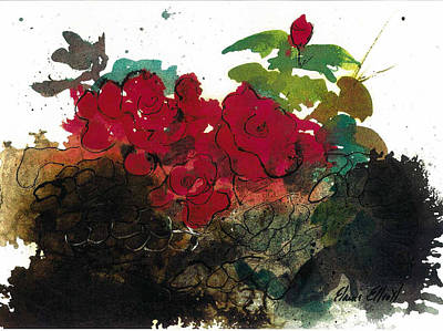 Art Print featuring the painting Red Roses On The Rocks by Elaine Elliott