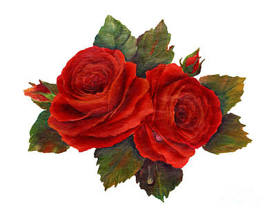 Red Roses Art Print by Pattie Calfy