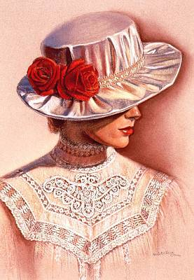 Print featuring the painting Red Roses Satin Hat by Sue Halstenberg