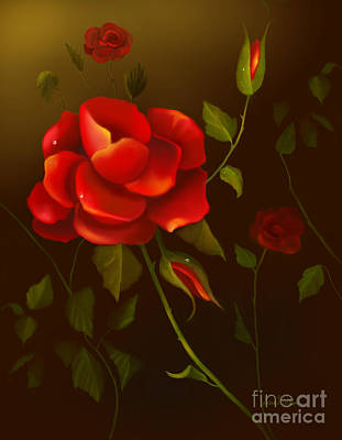 Painting - Red Roses by Sena Wilson
