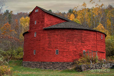 Round Barn Photograph - Red Round Barn by Deborah Benoit