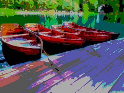 Red Row Boats Dock Lake Enhanced IIi Art Print by L Brown