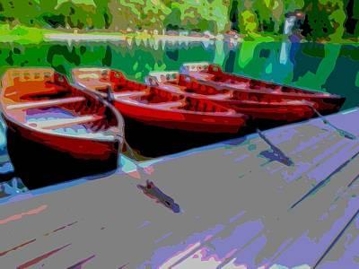 Red Rowboats Dock Lake Enhanced Iv Art Print by L Brown