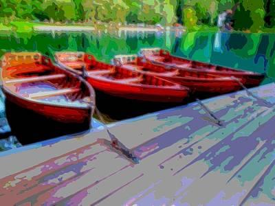 Red Rowboats Dock Lake Enhanced V Art Print by L Brown