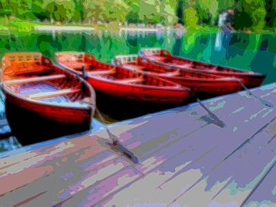 Oars Mixed Media - Red Rowboats Dock Lake Enhanced Vi by L Brown